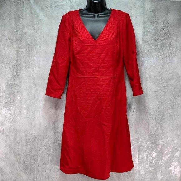 Lauren Ralph Lauren Dobby Red Fit & Flare V Neck 3
